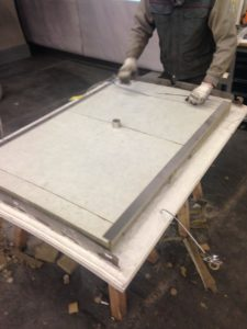 Glass-Fibre-Concrete-panels-securing-acoustic-insulation-and-boroscope-inspection-hole